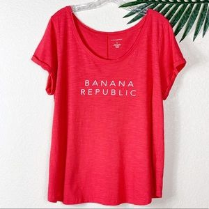 BANANA REPUBLIC Bright Coral Red Logo T-Shirt
